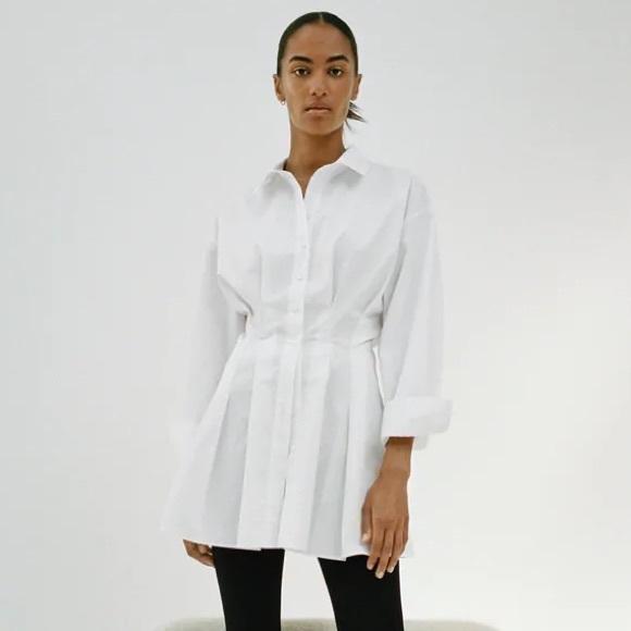 Zara pleated shirt dress dupe